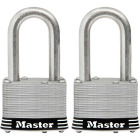 Master Lock 1-3/4 In. Laminated Stainless Steel Keyed Padlock with 1-1/2 In. Shackle (2-Pack) Image 1