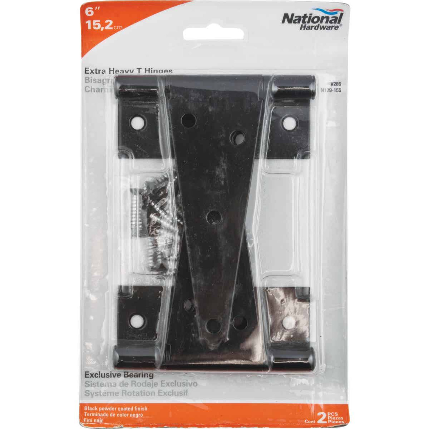 National 6 In. Black Heavy-Duty Tee Hinge (2-Pack) Image 2