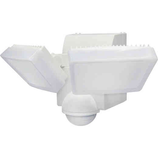 IQ America White 800 Lm. LED Motion Sensing Battery Operated 2-Head Security Light Fixture