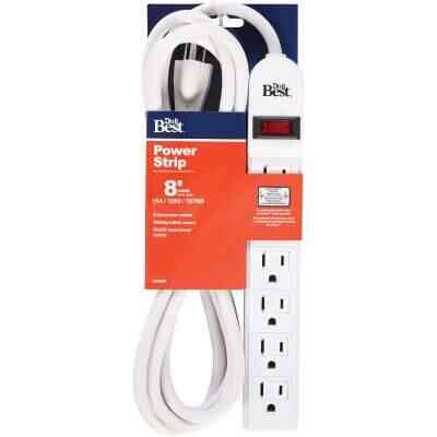Do it Best Extra Reach 6-Outlet White Power Strip with 8 Ft. Cord