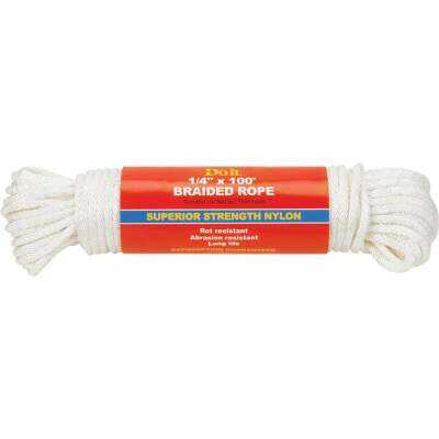 Do it 1/4 In. x 100 Ft. White Braided Nylon Packaged Rope
