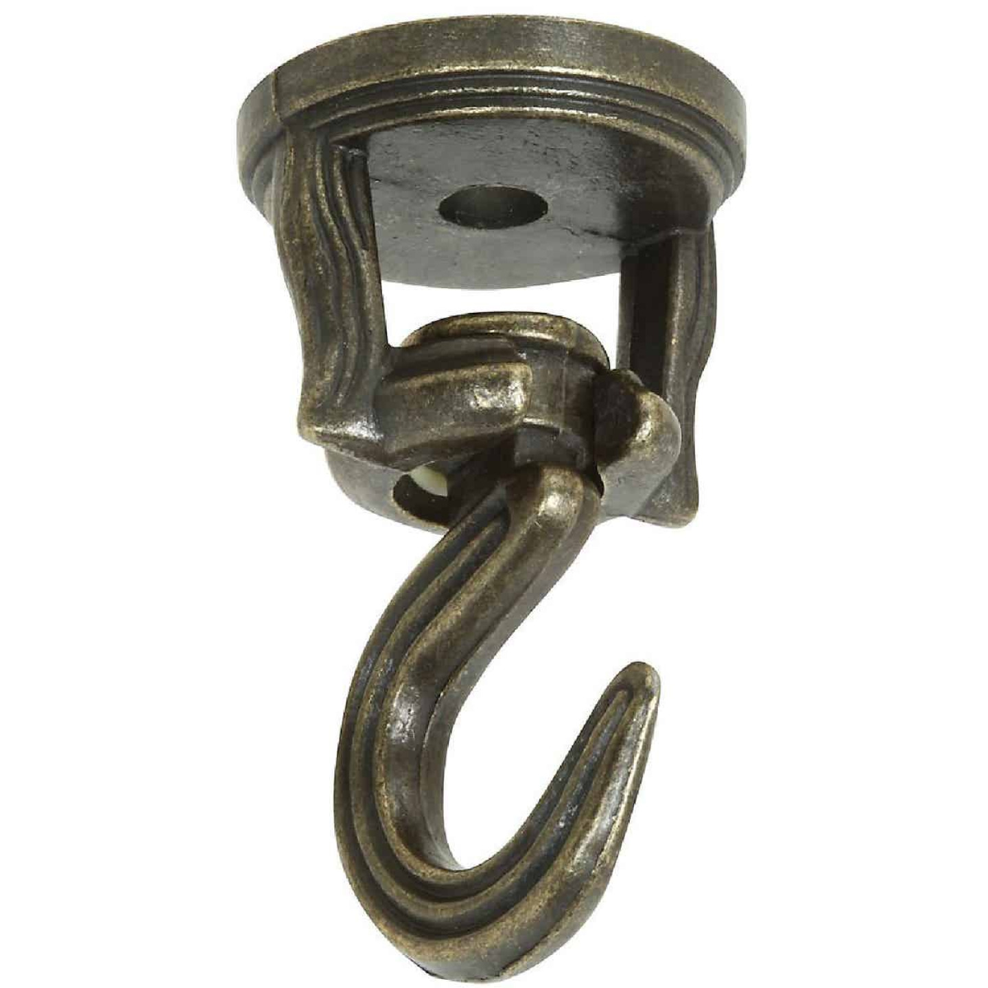 National 2 In. Antique Brass Die Cast Swivel Swag Hook (2-Pack) Image 2
