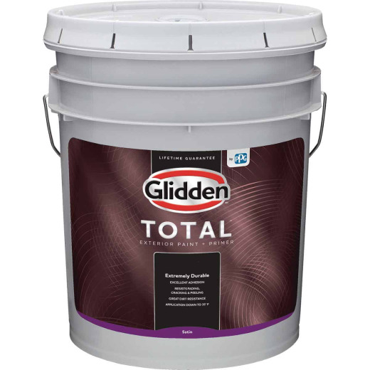 Glidden Total Exterior Paint + Primer Satin Midtone Base 5 Gallon