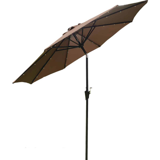 Outdoor Expressions 9 Ft. Aluminum Tilt/Crank Brown Patio Umbrella with Solar LED Lights